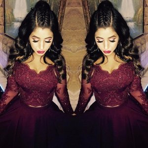 2018 Burgundy Lace Long Sleeve Formal Evening Dresses V Neck Crystal High Low Arabic Evening Gowns Sleeves Two Piece Prom Dress Party Gowns on Sale