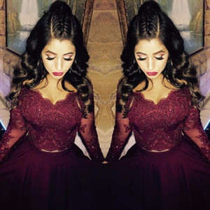 Wholesale 2020 Sexy Burgundy Two Pieces Formal Evening Dresses V Neck Lace Long Sleeves Crystal High Low Arabic Evening Gowns Prom Dress Party Gowns