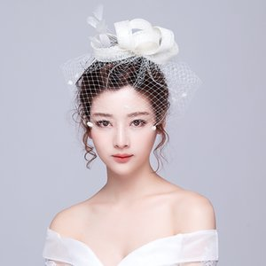 Wholesale black Yarn birdcage bridal hair Jewelry wedding bride flower ribbon veil headdress exquisite hair accessories Hair Band