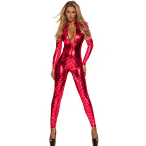 Wholesale Charming Sexy Metallic Fish Scales Mermaid Catsuit Bodysuit Red Blue Green Zipper Front Catsuit Vinyl Leather Jumpsuit W207995