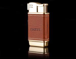 Wholesale HONEST Creative leather metal lighter side fire design pipe inflatable lighter with gift box