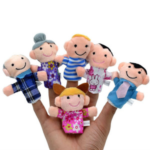 Wholesale family puppets resale online - 6pcs Kawaii finger puppet stuffed animals children toys baby plush toy we are family grandma grandpa father mother girl son
