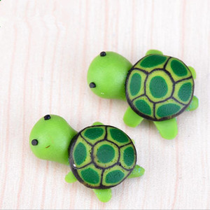 Wholesale artificial cute green tortoise animals fairy garden miniatures gnomes moss terrariums resin crafts figurines for garden decoration F2017726