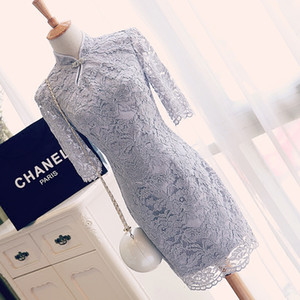 Wholesale Elegant Light Gray Lace Mother of the Bride Dresses High Collar Half Sleeves Elegant mother s Dress Cheap Plus Size Custom Made