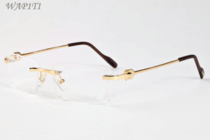 Wholesale Rimless Sunglasses For Men Women Unique Hollow Alloy Rimless Sunglasses Personality Oversized Designer Sunglasses