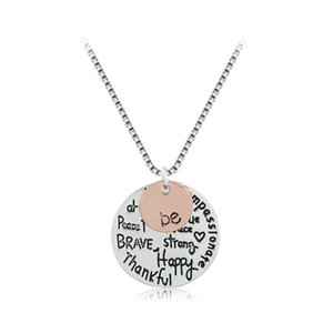 Wholesale Hot Sale CM Silver Plated Box LInk Chain quot Be quot Graffiti Friend Brave Happy Strong Thankfull Charm Pendant Necklaces For Women Girls Gifts