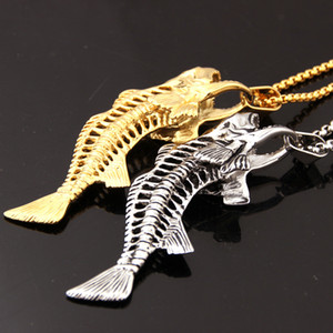 Wholesale Hip hop Fish Bone Fishing Hook Pendant Necklaces Punk Style Men L Stainless Steel Box Chain Colors Personality Jewelry