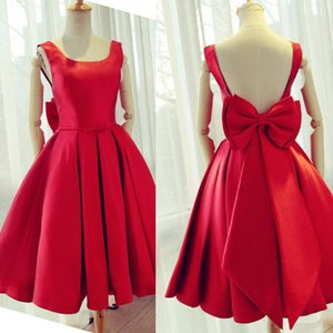 Charming Red Backless Party Dresses Scoop Neck Sleeveless Short Homecoming Dress Custom Made with Oversize Bow Sash on Sale