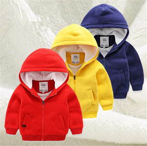 Wholesale- New 2017 Han edition children boy girls child cotton-padded clothes thick cotton-padded jacket baby clothes winter solid zipper on Sale