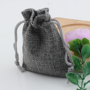 Wholesale Hot Gray Linen Fabric Drawstring bags Candy Jewelry Gift Pouches Burlap Gift Jute bags x9cm x14cm x18cm x20cm