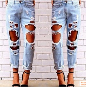 Wholesale Ripped Jeans Denim Joggers Knee Holes Slim Fit Jeans For Women Blue Rock Star Womens Jumpsuit Destroyed Jeans Boyfriend Pencil Pants
