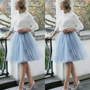 Wholesale 3 Layers Short Skirts Light Blue Skirt Free Size Handmade Knee Length Tulle Women Party Skirts Tutu Gauze Women Lady Daily Clothing