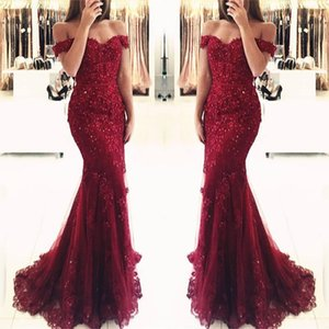 Burgundy Lace Mermaid Appliques Off-the-shoulder Evening Dresses 2019 Vestido De Festa Beaded Sequins Long Prom Gowns BA3809 on Sale