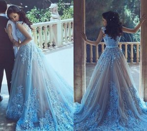 2017 Sexy Elegant Fashion Party Dress Light Sky Blue Lace Prom Dresses Long 3D-Floral Appliques Beads Sweep Train A Line Evening Gowns on Sale