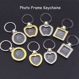 Mini Pendant Design Photo Frame Keychains DIY Insert Photo Picture Frame Keychain Metal Zinc Alloy Keyring Key Ring Lovers Gift