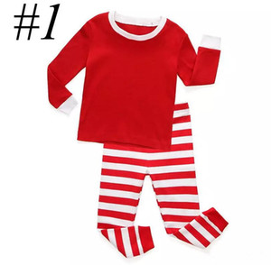Kids XMAS sleepwear boys girls cotton 2pcs Set deer stripe tops pants pajamas santas little helper sleepwear sets