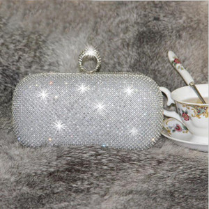 Wholesale Shining Crystal Silver Black Gold Bridal Hand Bags Big Small Style Fashion Ring Women Clutch Bags For Party Evenings Formal