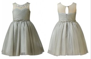 Wholesale Beaded Grey Satin Tulle Flower Girl Dress Wedding Party Formal Dresses Age