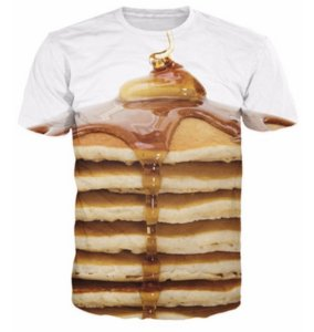 Wholesale Pancake Stack T Shirt Sexy Tee Stacked Pancakes with Syrup and Butter d Print T Shirt Summer Style Hip hop Tops for Womens Mens