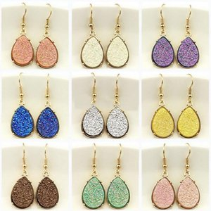 Wholesale Hot Selling Drusy Dangle Mini Teardrop Faux Druzy Earrings for Women Gold Fashion Water Drop Earrings Popular Women Jewelry