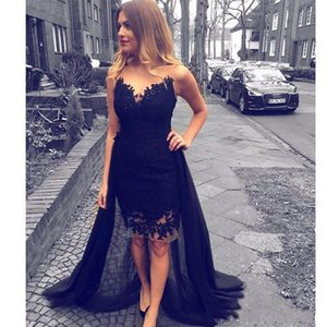 Sexy Black Knee Length Prom Dresses A Line Bateau Neck Hollow Back Evening Gowns with Lace Appliques Cheap Cocktail Dresses DTJ on Sale