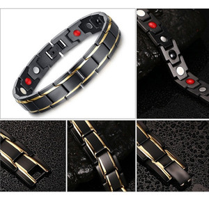 Hot Sale Hottime Luxury Fashion Health Energy Bracelet Bangle Men 316L Stainless Steel Bio Magnetic Bracelets Black & Gold Plated Jewelry