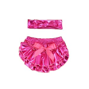 Wholesale Gold Baby Short Pants Metallic Baby Girls Bloomer Headband Set Newborn Photo Prop Baby Girls Outfit