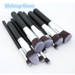Wholesale badger makeup brushes resale online - Hot sale professional makeup brushes silver Synthetic Kabuki Makeup Brush Set Cosmetics Foundation blending blush makeup tool