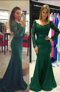 Dark Green Mermaid Prom Dresses with Long Sleeves Lace Satin Sweep Train Cheap Evening Dresses 2017 Elegant Formal Party Gowns Vestidos on Sale