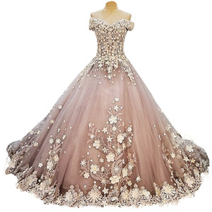 Colorful Bridal Ball Gown Tulle Wedding Dresses Flowers Appliqued Off Shoulder Modern Tirered Skirts Beach Wedding Gowns