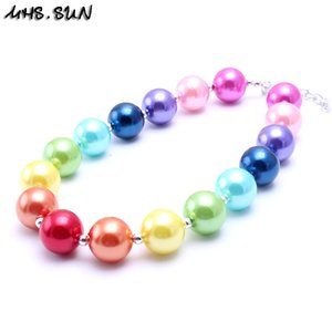 Wholesale MHS SUN Rainbow Color Kid Chunky Necklace Finish DIY Make Bubblegum Bead Chunky Necklace Children Jewelry For Toddler Girls