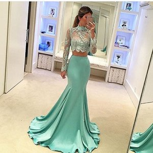 Wholesale two piece prom dresses collar for sale - Group buy 2017 Fashion EveniNG Gowns Two Pieces High Collar Appliqued Beaded Long Sleeve vestidos de noiva Mermaid Prom Dresses