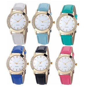6 Pack Wholesale Women Girls Watches Leather Band Rhinestone Inlaid Analog Quartz Jelly Dress Wristwatches Birthday Christmas Gift Set