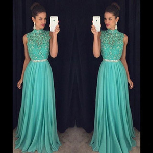 New A Line Prom Dresses High Neck Cap Sleeveless With Backless Lace Applique Beads Long Floor-Length Chiffon Custom Made Party Dress on Sale