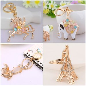 Keychain Rhinestone Crystal Pendent Horse Fish Eiffel Tower Bear Fox Clothing Accessories Handbag Decoration Keyrings Women Gift C150Q
