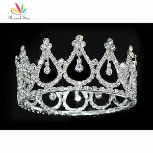 Wholesale Peacock Star Flower Girl Baby Crystal Full Circle Round Mini Crown Tiara CT1778