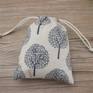 Happy Tree Printed Linen Jewelry Gift Pouch 9x12cm 10x15cm 13x17cm pack of 50 Party Candy Favor Sack Jute Drawstring Bag