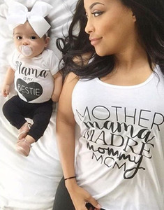 mama is my bestie   Baby girl summer outfits  heart shape printted 2017 white t-shirt and black pants