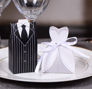 Wholesale 100Pcs pairs European Style Tuxedo Dress Bride Groom Wedding Favors Candy Boxes Bomboniera Party Gift Boxes With Ribbons LZ0082
