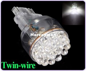 Wholesale Super Bright T25 LEDs LED Car Brake Stop Light Turn Signal Bulb W Wedge White Twin wire Wholesales
