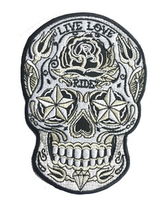Wholesale live vest for sale - Group buy LIVE LOVE RIDE Sugar Skull Embroidered Patch Iron On Jacket Vest Embroider Badge DIY Applique Embroidery Emblem quot