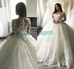 2019 Vintage Ball Gown Cathedral Train Wedding Dresses With Long Sleeve Lace Applique Covered Button Princess Modest Bridal Dress