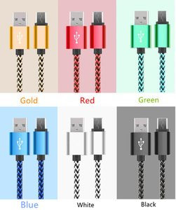 Wholesale Braided TYPE C Micro USB Cable M Ft Nylon Male to Micro B Data Sync Quick Charger Cord For I phone Samsung