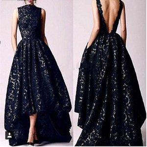 Wholesale vintage prom dresses high neck resale online - Arabic Hi Low Black Lace Prom dresses Vintage Homecoming Dreses High Neck Deep V Backless Formal Party Gowns Evening Dresses With Pocket