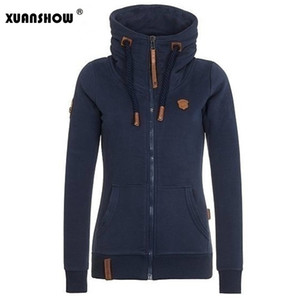 Wholesale- 2017 Womens Fashion Fleeces Hoodies Ladies Sweatshirts Casual Girls Tracksuits Solid Long Sleeve Zip Up Clothing Plus Size S-5XL