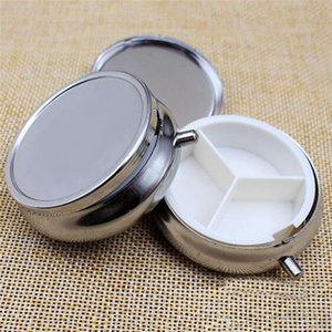 Wholesale 300pcs grid Metal Round Silver Tablet Pill Box Holder Container Medicine Case