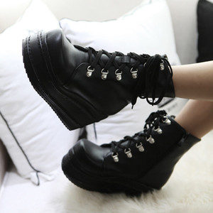 Wholesale 2017 Womens Lace Up Platform Muffins Wedge Punk Rock Gothic Ankle Boots Shoes size