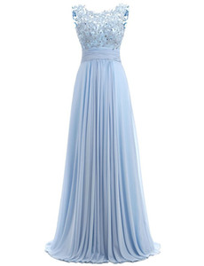 Wholesale Blue Prom Dress Cap Sleeve 2017 Robe Ceremonie Femme Long Elegant Evening Dresses Floor Length Party Gowns
