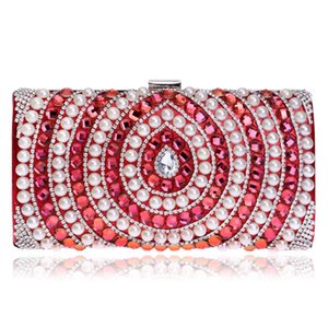 Gift Box Women Socialite Crystal Beaded Evening Clutches Bag Pearl Hollow Out Handbags Diamond Wedding Dress Bridal Clutch Purse