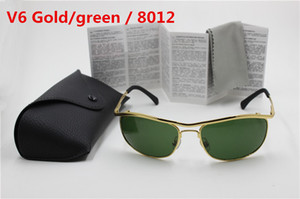 Wholesale 1pcs High Quality UV Protection Sport Sunglasses For Men Designer Brand Sun Glasses Gold Frame Green mm Glass Lenses With Box And Case